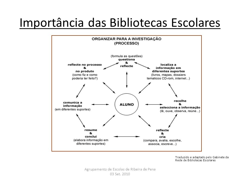Importância das Bibliotecas Escolares Agrupamento de Escolas de Ribeira de Pena 03 Set. 2010 Traduzido e adaptado pelo Gabinete da Rede de Bibliotecas