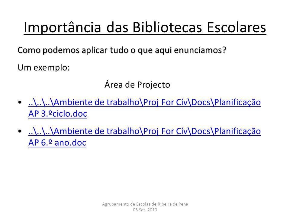 Importância das Bibliotecas Escolares Como podemos aplicar tudo o que aqui enunciamos? Um exemplo: Área de Projecto..\..\..\Ambiente de trabalho\Proj