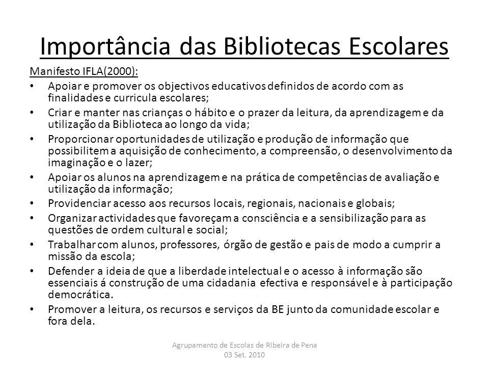 Manifesto IFLA(2000): Apoiar e promover os objectivos educativos definidos de acordo com as finalidades e curricula escolares; Criar e manter nas cria