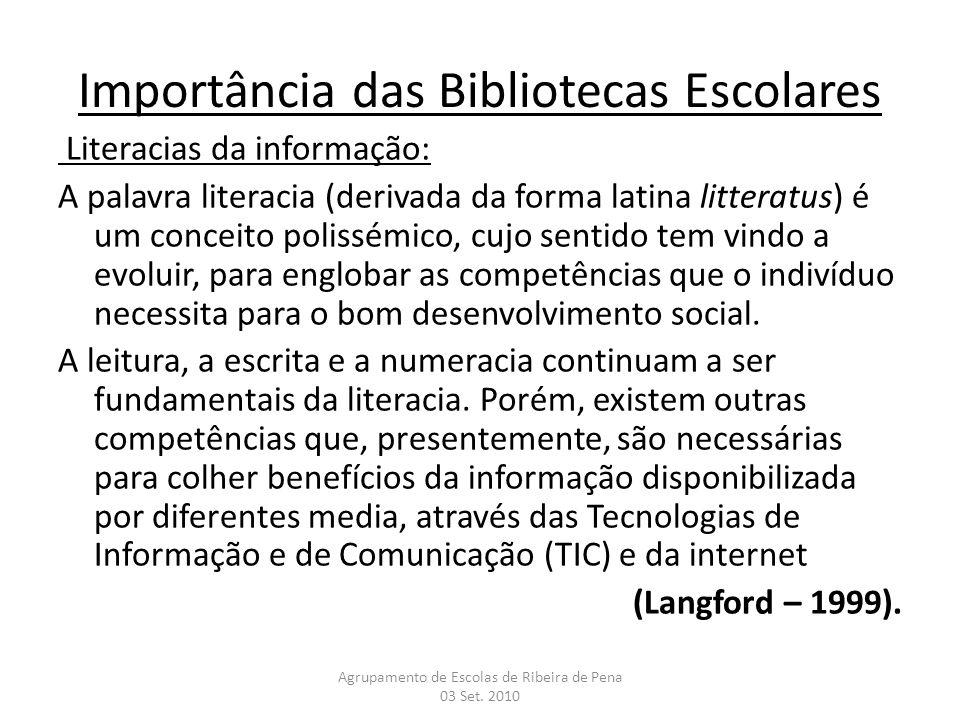 Importância das Bibliotecas Escolares Literacias da informação: A palavra literacia (derivada da forma latina litteratus) é um conceito polissémico, c