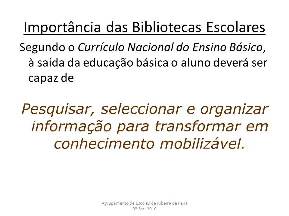 Importância das Bibliotecas Escolares Segundo o Currículo Nacional do Ensino Básico, à saída da educação básica o aluno deverá ser capaz de Pesquisar,