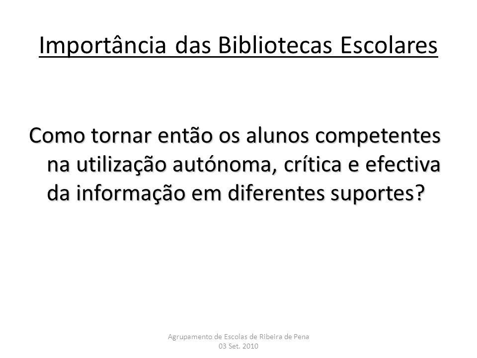 Importância das Bibliotecas Escolares Como tornar então os alunos competentes na utilização autónoma, crítica e efectiva da informação em diferentes s