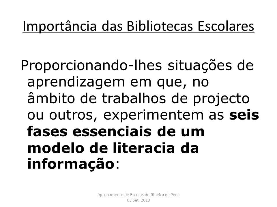 Importância das Bibliotecas Escolares Proporcionando-lhes situações de aprendizagem em que, no âmbito de trabalhos de projecto ou outros, experimentem