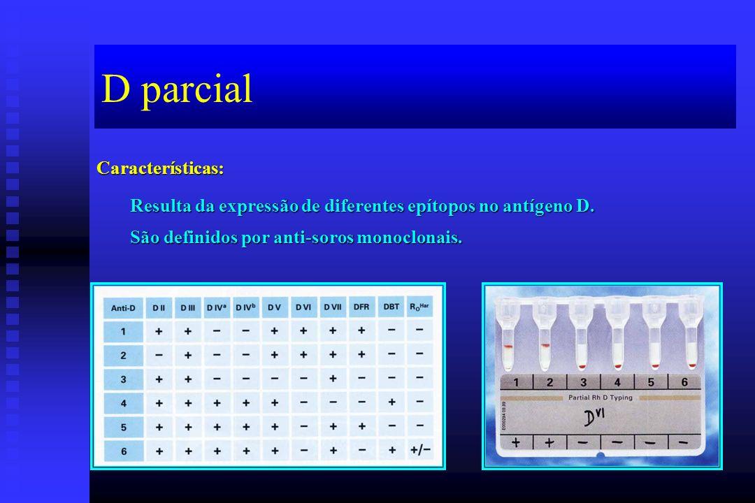 D parcial Características: Resulta da expressão de diferentes epítopos no antígeno D. São definidos por anti-soros monoclonais.