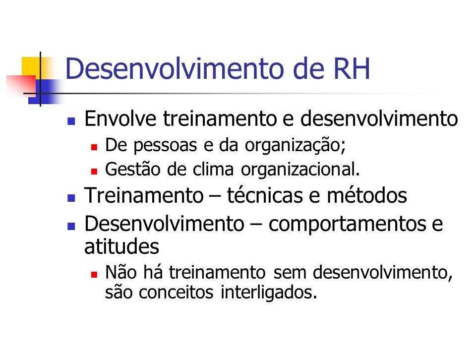 Desenvolvimento de RH Envolve treinamento e desenvolvimento De pessoas e da organização; Gestão de clima organizacional. Treinamento – técnicas e méto