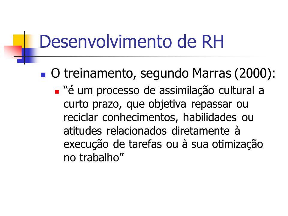 Desenvolvimento de RH O treinamento, segundo Marras (2000): é um processo de assimilação cultural a curto prazo, que objetiva repassar ou reciclar con