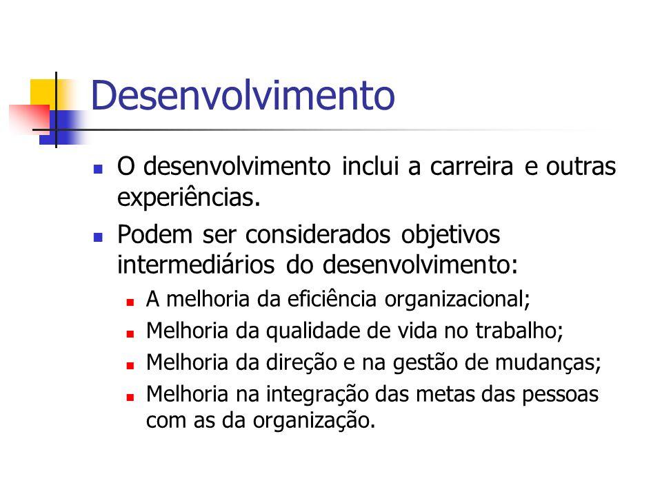 Desenvolvimento O desenvolvimento inclui a carreira e outras experiências. Podem ser considerados objetivos intermediários do desenvolvimento: A melho