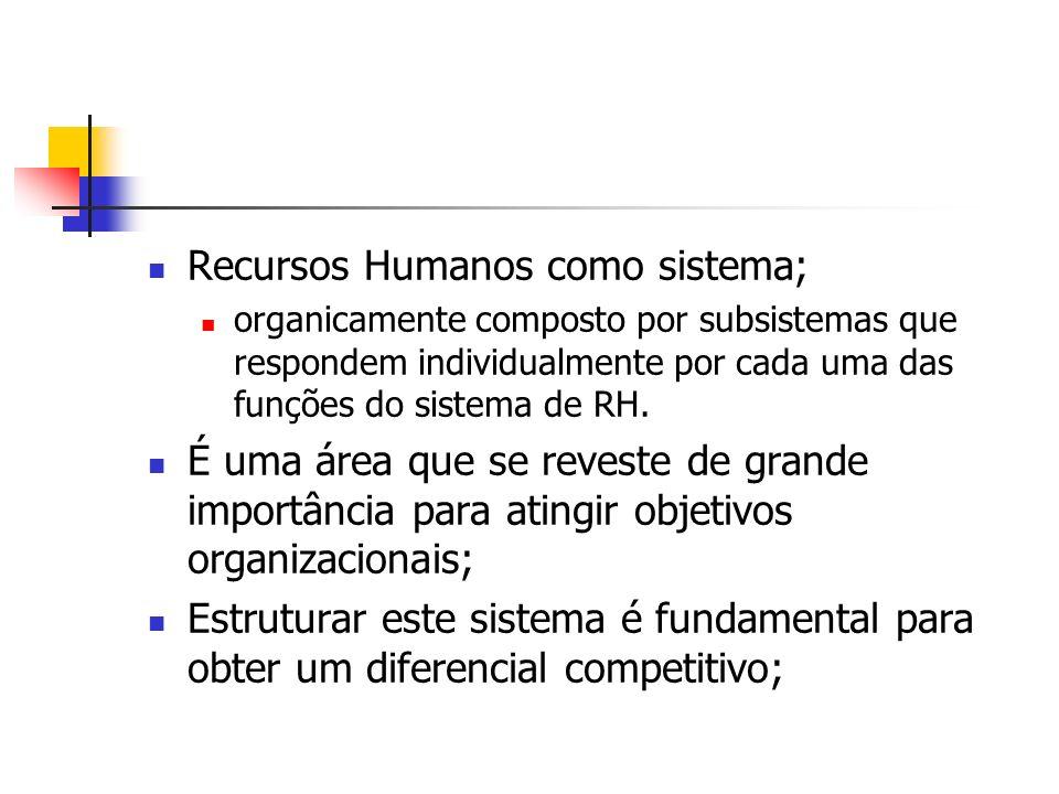Recursos Humanos como sistema; organicamente composto por subsistemas que respondem individualmente por cada uma das funções do sistema de RH. É uma á