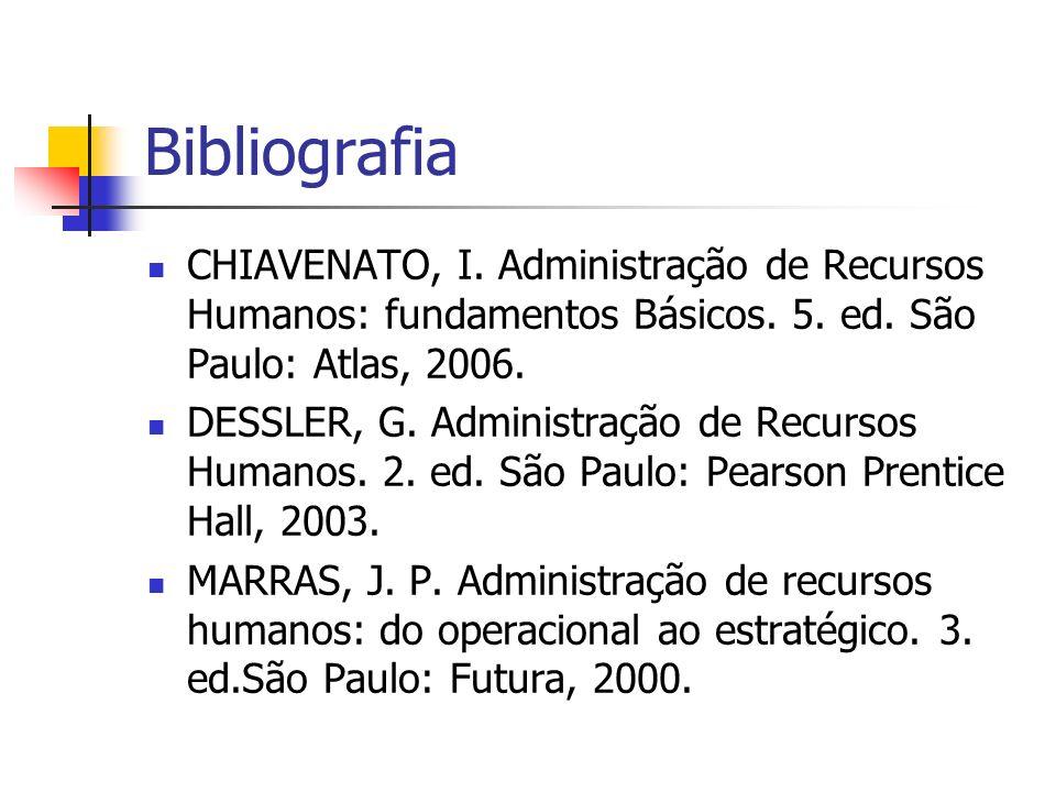 Bibliografia CHIAVENATO, I. Administração de Recursos Humanos: fundamentos Básicos. 5. ed. São Paulo: Atlas, 2006. DESSLER, G. Administração de Recurs