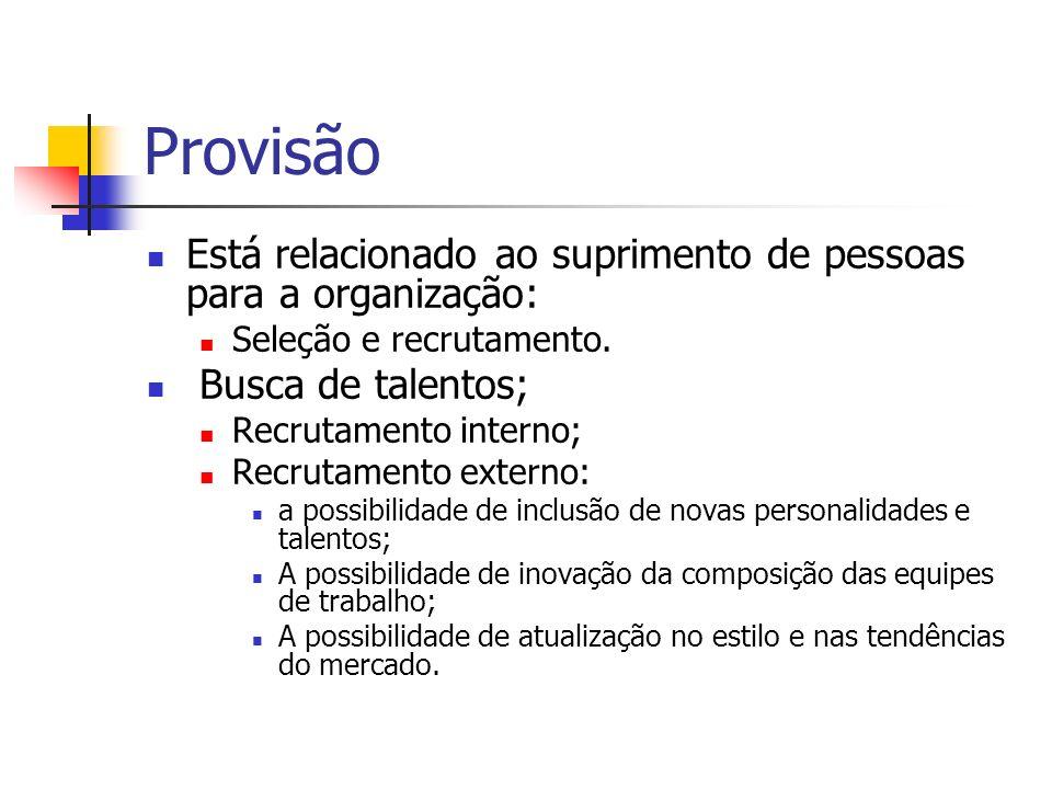 Provisão Está relacionado ao suprimento de pessoas para a organização: Seleção e recrutamento. Busca de talentos; Recrutamento interno; Recrutamento e