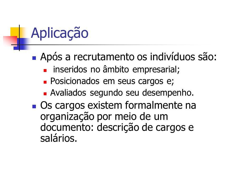 Aplicação Descrição de cargos especifica: As tarefas; Responsabilidades; Requisitos; Condições de trabalho para o ocupante e; Outros detalhes sobre as ocupações na organização.