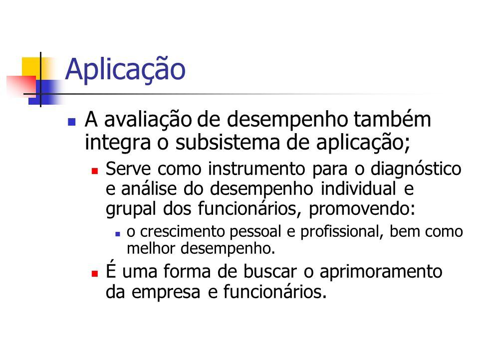 Aplicação A avaliação de desempenho também integra o subsistema de aplicação; Serve como instrumento para o diagnóstico e análise do desempenho indivi