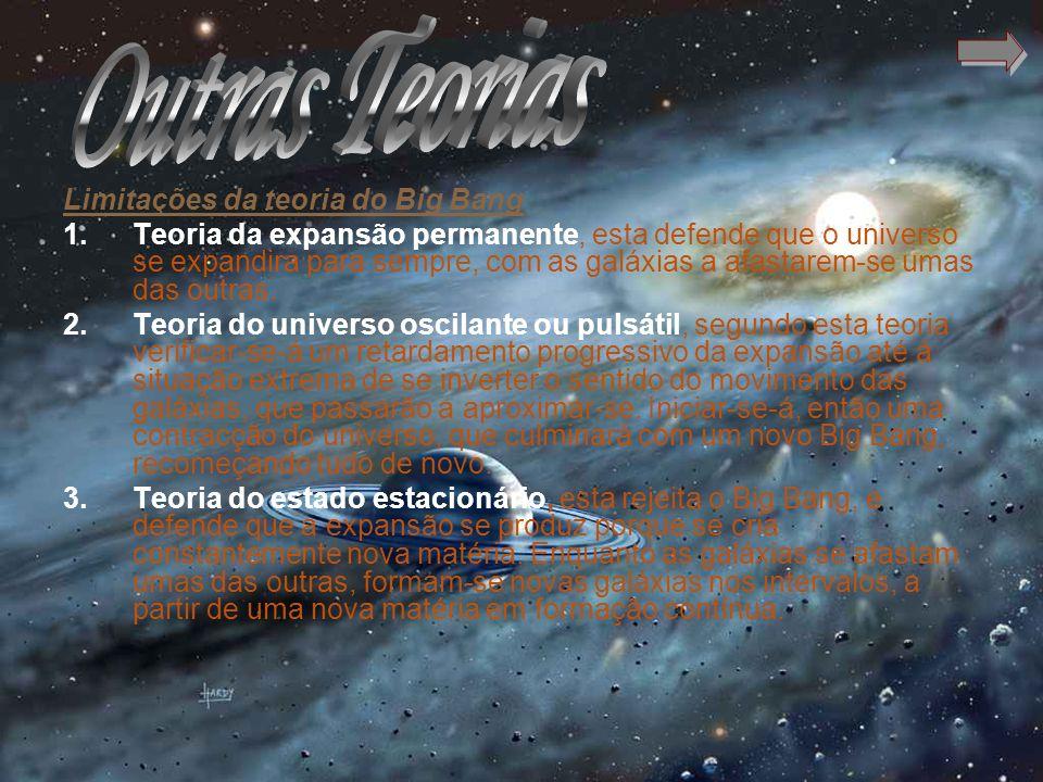 Limitações da teoria do Big Bang 1.Teoria da expansão permanente, esta defende que o universo se expandira para sempre, com as galáxias a afastarem-se