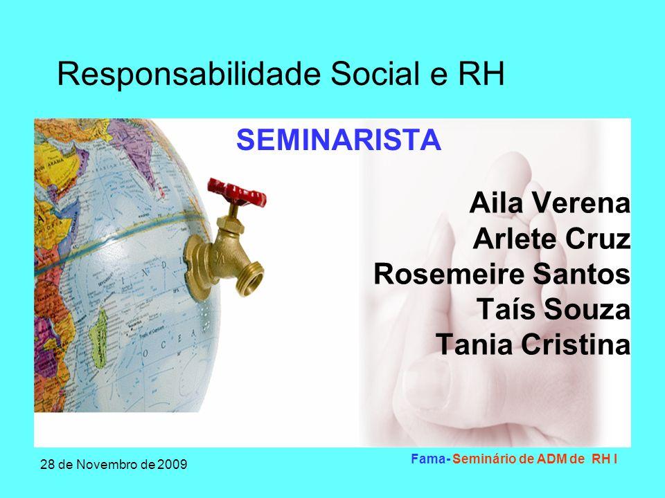 Responsabilidade Social e RH 28 de Novembro de 2009 Fama- Seminário de ADM de RH I Introdução Responsabilidade Social Empresarial- Oportunidade ou Problema.