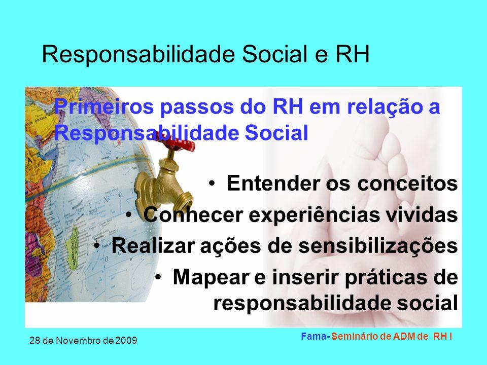 Responsabilidade Social e RH 28 de Novembro de 2009 Fama- Seminário de ADM de RH I Conceber e implantar código de ética Verificação dos critérios de participação por resultados Conceber e apoiar projetos internos de integração Primeiros passos do RH em relação a Responsabilidade Social