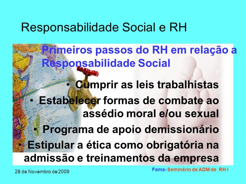 Responsabilidade Social e RH 28 de Novembro de 2009 Fama- Seminário de ADM de RH I Apoiar os trabalhos voluntários dos colaboradores e incluir visitação em instituições não-governamentais que visem atendimento social Criar um comitê de responsabilidade social Primeiros passos do RH em relação a Responsabilidade Social