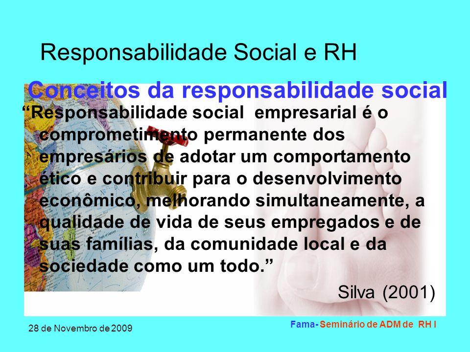 Responsabilidade Social e RH 28 de Novembro de 2009 Fama- Seminário de ADM de RH I Características da responsabilidade social Pluralidade de relações- As empresas não vivem isoladas Compromisso com o processo de produção- a responsabilidade social nos negócios se estende a toda a cadeia produtiva.