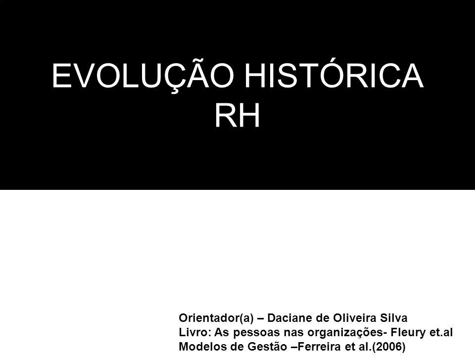 EVOLUÇÃO HISTÓRICA RH Orientador(a) – Daciane de Oliveira Silva Livro: As pessoas nas organizações- Fleury et.al Modelos de Gestão –Ferreira et al.(20