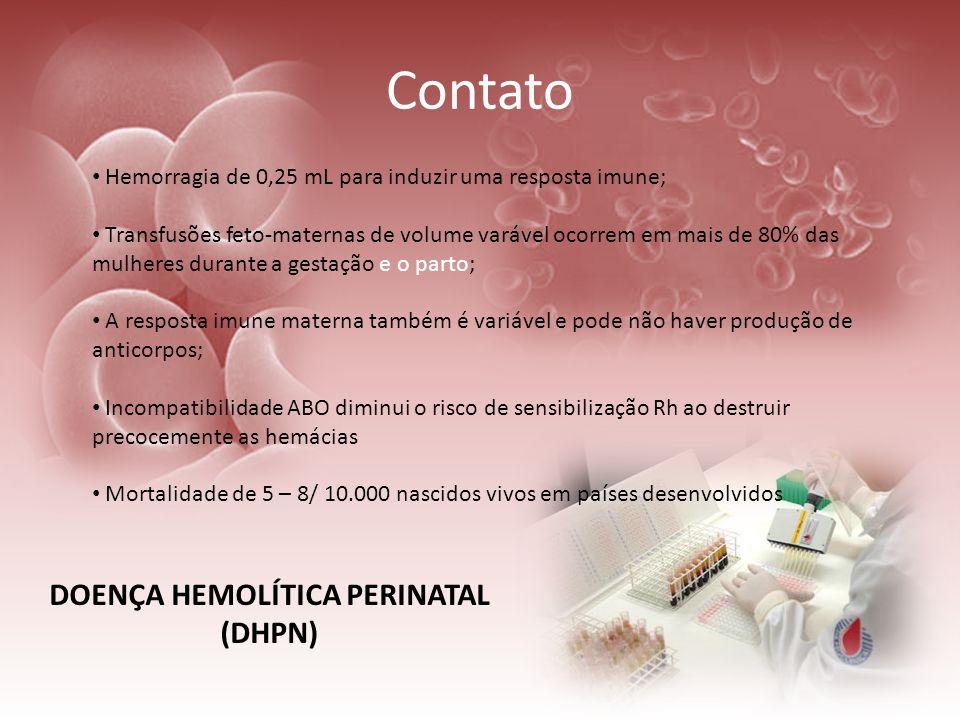 Contato Hemorragia de 0,25 mL para induzir uma resposta imune; Transfusões feto-maternas de volume varável ocorrem em mais de 80% das mulheres durante