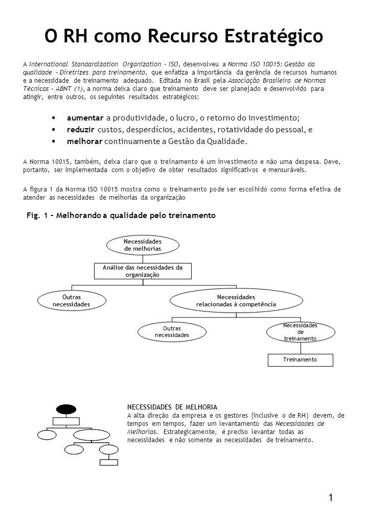 O RH como Recurso Estratégico A International Standardization Organization - ISO, desenvolveu a Norma ISO 10015: Gestão da qualidade – Diretrizes para