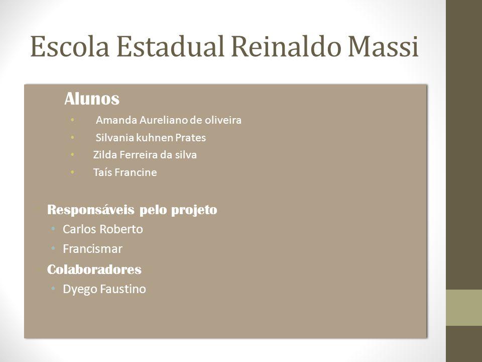 Escola Estadual Reinaldo Massi Alunos Amanda Aureliano de oliveira Silvania kuhnen Prates Zilda Ferreira da silva Taís Francine Responsáveis pelo proj