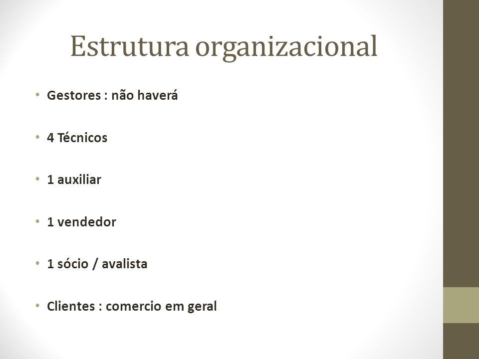 Estrutura organizacional Gestores : não haverá 4 Técnicos 1 auxiliar 1 vendedor 1 sócio / avalista Clientes : comercio em geral