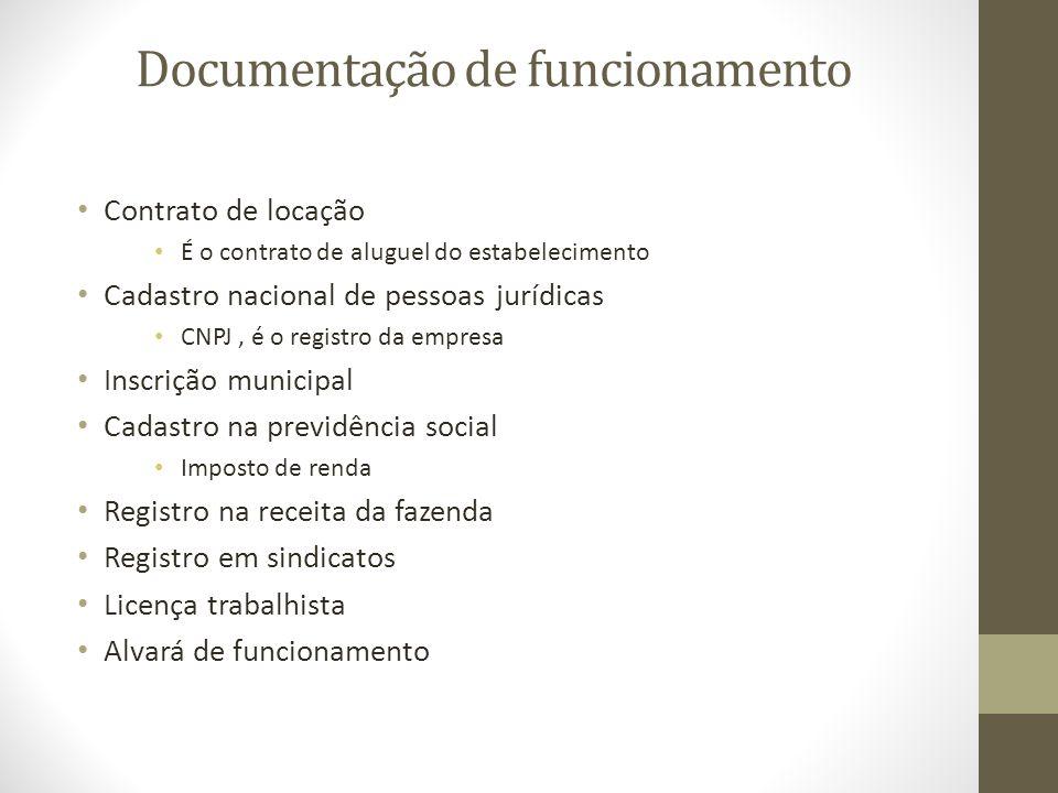 Documentação de funcionamento Contrato de locação É o contrato de aluguel do estabelecimento Cadastro nacional de pessoas jurídicas CNPJ, é o registro