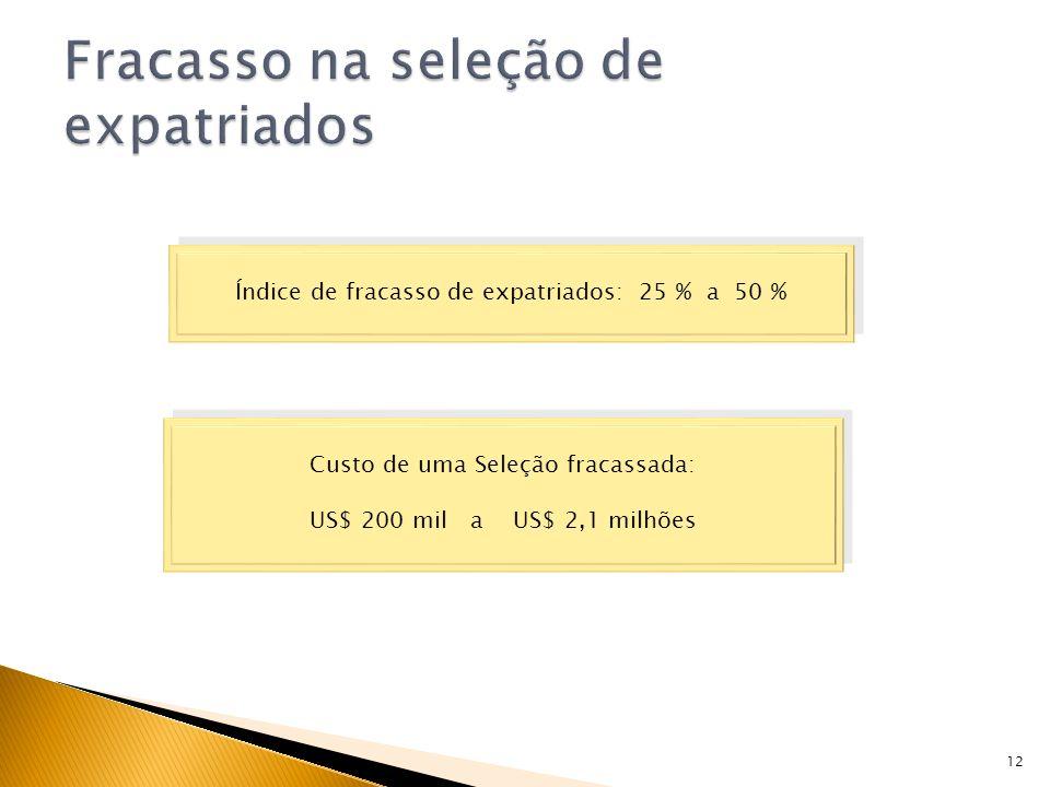 12 Índice de fracasso de expatriados: 25 % a 50 % Custo de uma Seleção fracassada: US$ 200 mil a US$ 2,1 milhões Custo de uma Seleção fracassada: US$