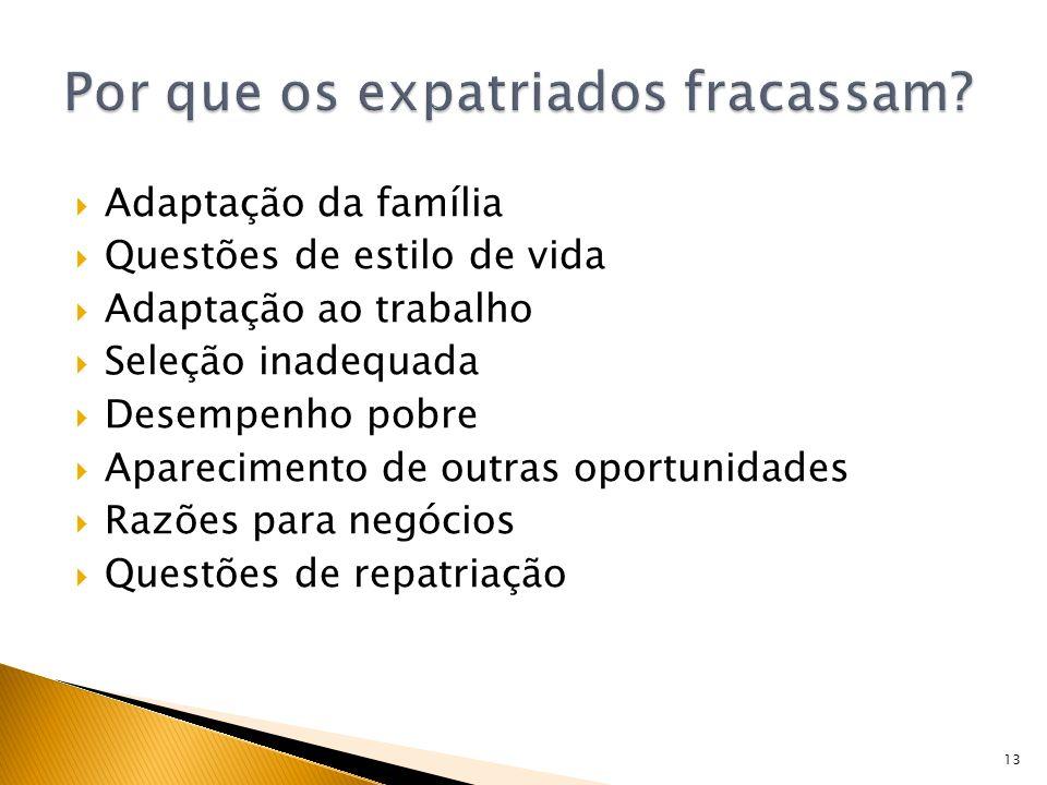 13 Adaptação da família Questões de estilo de vida Adaptação ao trabalho Seleção inadequada Desempenho pobre Aparecimento de outras oportunidades Razõ