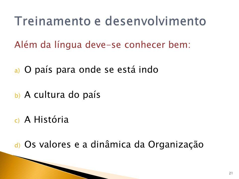 21 Além da língua deve-se conhecer bem: a) O país para onde se está indo b) A cultura do país c) A História d) Os valores e a dinâmica da Organização