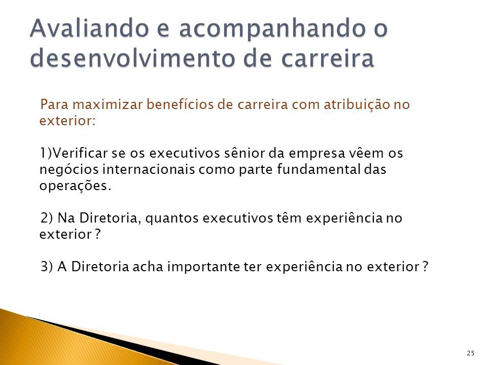 25 Para maximizar benefícios de carreira com atribuição no exterior: 1)Verificar se os executivos sênior da empresa vêem os negócios internacionais co