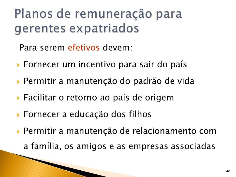 40 Para serem efetivos devem: Fornecer um incentivo para sair do país Permitir a manutenção do padrão de vida Facilitar o retorno ao país de origem Fo