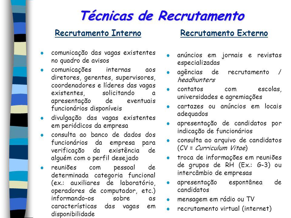 Recrutamento Interno e Externo Recrutamento InternoVantagens l melhor aproveitamento do poten- cial humano da organização l rapidez e economia l motiv