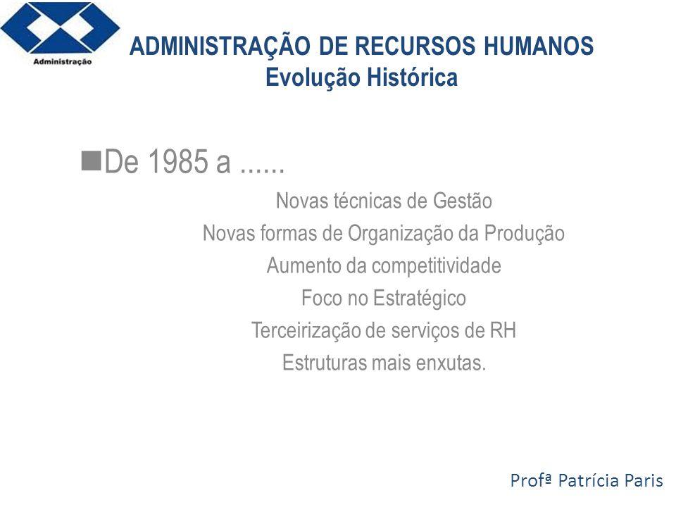 ADMINISTRAÇÃO DE RECURSOS HUMANOS Evolução Histórica De 1985 a...... Novas técnicas de Gestão Novas formas de Organização da Produção Aumento da compe