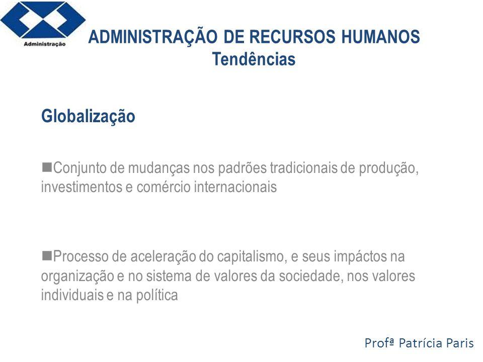 ADMINISTRAÇÃO DE RECURSOS HUMANOS Tendências Globalização Conjunto de mudanças nos padrões tradicionais de produção, investimentos e comércio internac