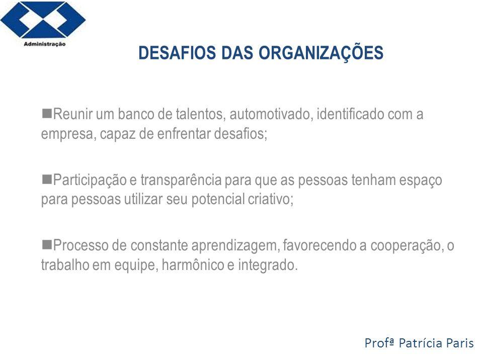 DESAFIOS DAS ORGANIZAÇÕES Reunir um banco de talentos, automotivado, identificado com a empresa, capaz de enfrentar desafios; Participação e transparê