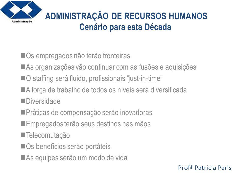 ADMINISTRAÇÃO DE RECURSOS HUMANOS Cenário para esta Década Os empregados não terão fronteiras As organizações vão continuar com as fusões e aquisições