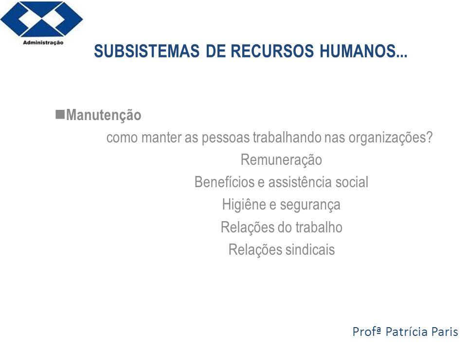 SUBSISTEMAS DE RECURSOS HUMANOS... Manutenção como manter as pessoas trabalhando nas organizações? Remuneração Benefícios e assistência social Higiêne