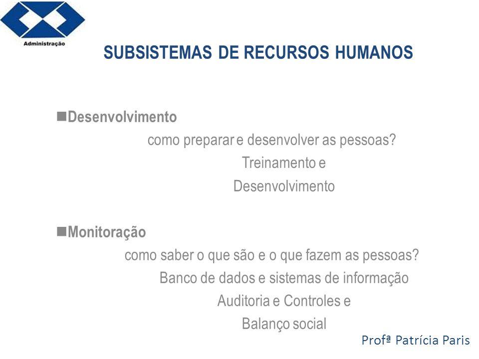 SUBSISTEMAS DE RECURSOS HUMANOS Desenvolvimento como preparar e desenvolver as pessoas? Treinamento e Desenvolvimento Monitoração como saber o que são