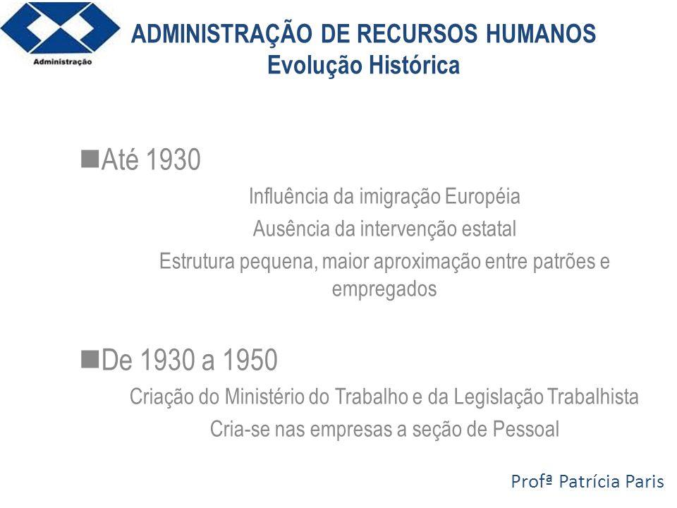 ADMINISTRAÇÃO DE RECURSOS HUMANOS Evolução Histórica Até 1930 Influência da imigração Européia Ausência da intervenção estatal Estrutura pequena, maio