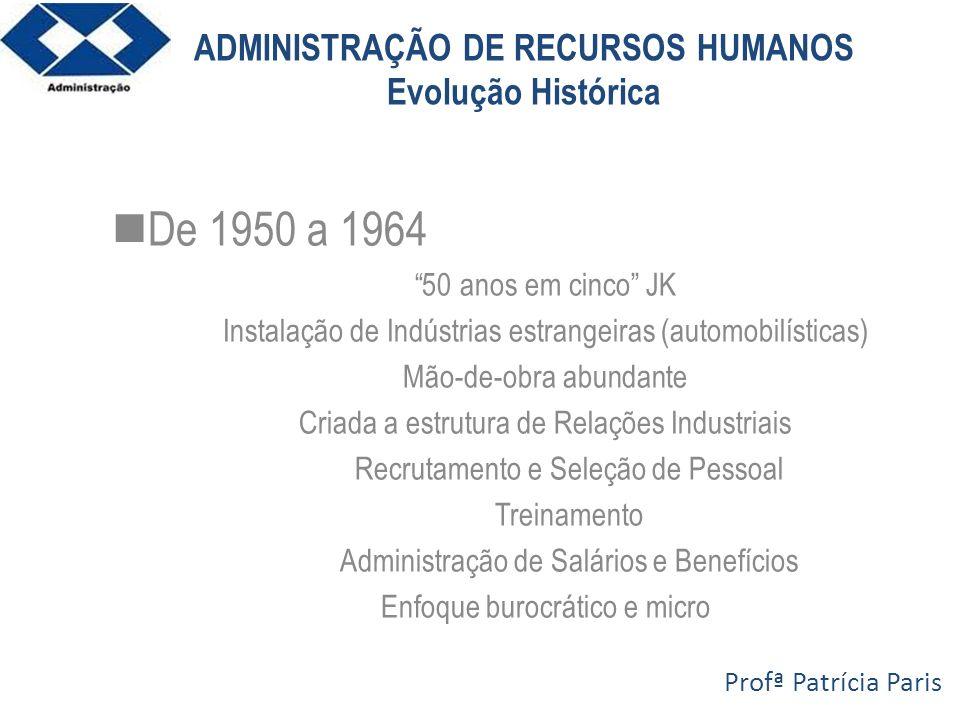 ADMINISTRAÇÃO DE RECURSOS HUMANOS Evolução Histórica De 1950 a 1964 50 anos em cinco JK Instalação de Indústrias estrangeiras (automobilísticas) Mão-d