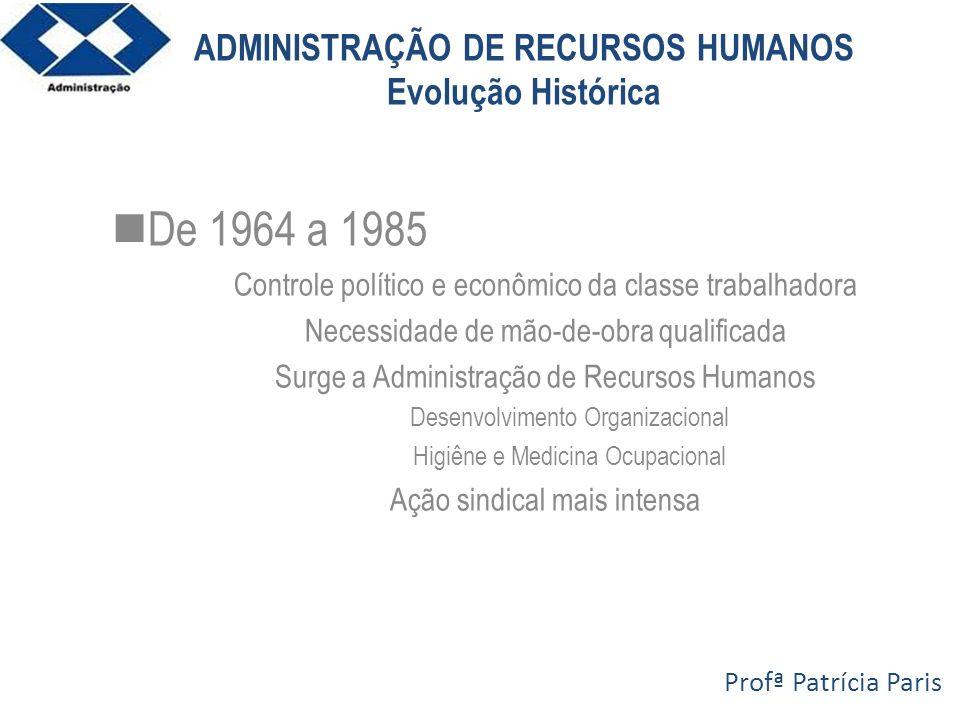 ADMINISTRAÇÃO DE RECURSOS HUMANOS Evolução Histórica De 1964 a 1985 Controle político e econômico da classe trabalhadora Necessidade de mão-de-obra qu