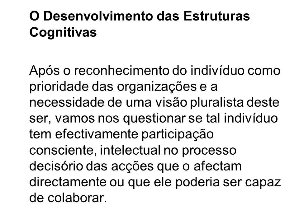 O Desenvolvimento das Estruturas Cognitivas Após o reconhecimento do indivíduo como prioridade das organizações e a necessidade de uma visão pluralist