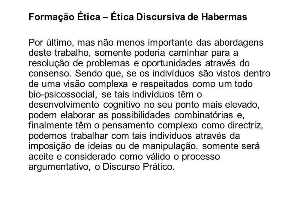 Formação Ética – Ética Discursiva de Habermas Por último, mas não menos importante das abordagens deste trabalho, somente poderia caminhar para a reso