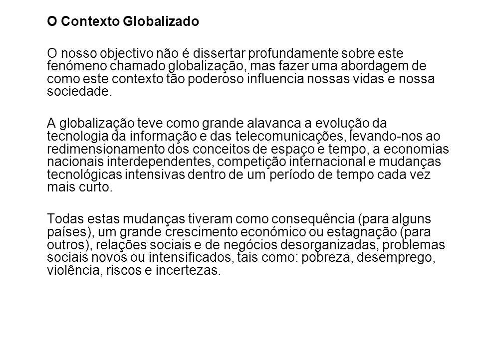 O Contexto Globalizado O nosso objectivo não é dissertar profundamente sobre este fenómeno chamado globalização, mas fazer uma abordagem de como este