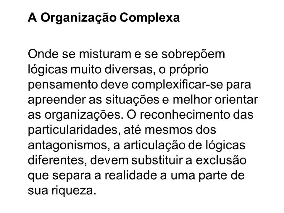 A Organização Complexa Onde se misturam e se sobrepõem lógicas muito diversas, o próprio pensamento deve complexificar-se para apreender as situações
