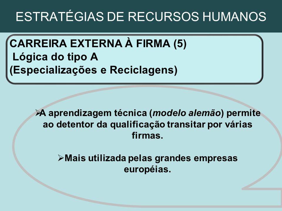 ESTRATÉGIAS DE RECURSOS HUMANOS CARREIRA EXTERNA À FIRMA (5) Lógica do tipo A (Especializações e Reciclagens) A aprendizagem técnica (modelo alemão) p
