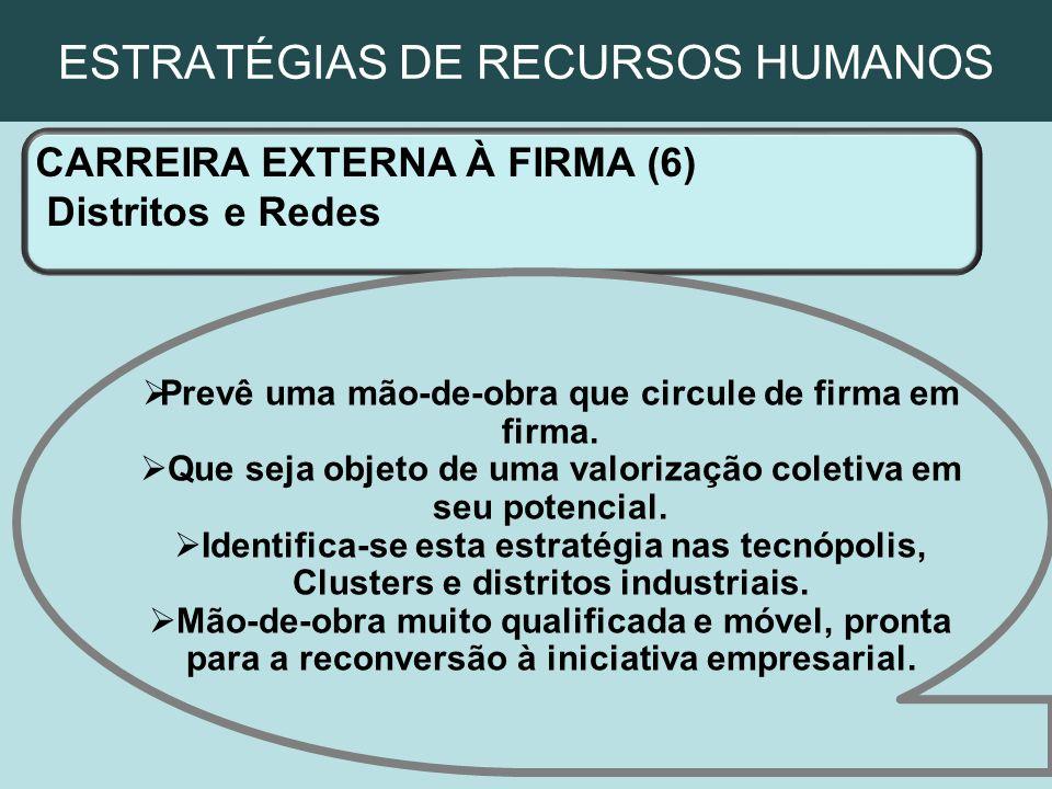 ESTRATÉGIAS DE RECURSOS HUMANOS CARREIRA EXTERNA À FIRMA (6) Distritos e Redes Prevê uma mão-de-obra que circule de firma em firma. Que seja objeto de