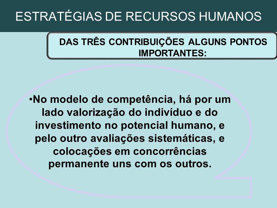 ESTRATÉGIAS DE RECURSOS HUMANOS DAS TRÊS CONTRIBUIÇÕES ALGUNS PONTOS IMPORTANTES: No modelo de competência, há por um lado valorização do indivíduo e