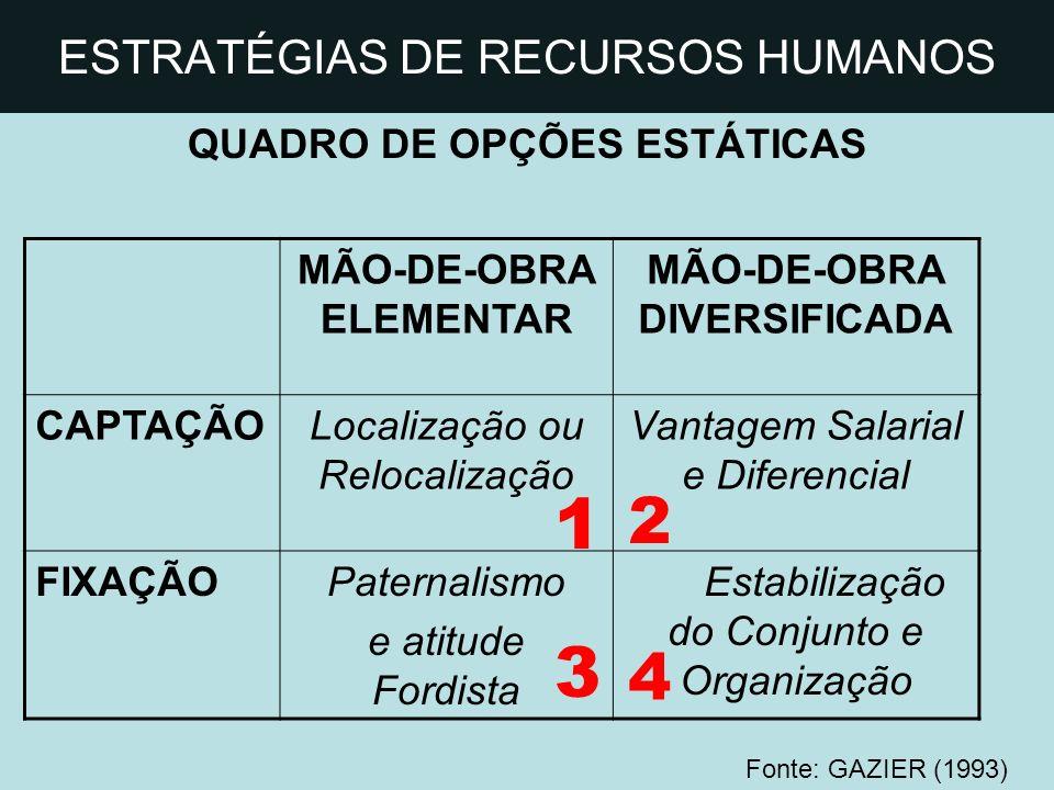 ESTRATÉGIAS DE RECURSOS HUMANOS QUADRO DE OPÇÕES ESTÁTICAS MÃO-DE-OBRA ELEMENTAR MÃO-DE-OBRA DIVERSIFICADA CAPTAÇÃOLocalização ou Relocalização Vantag